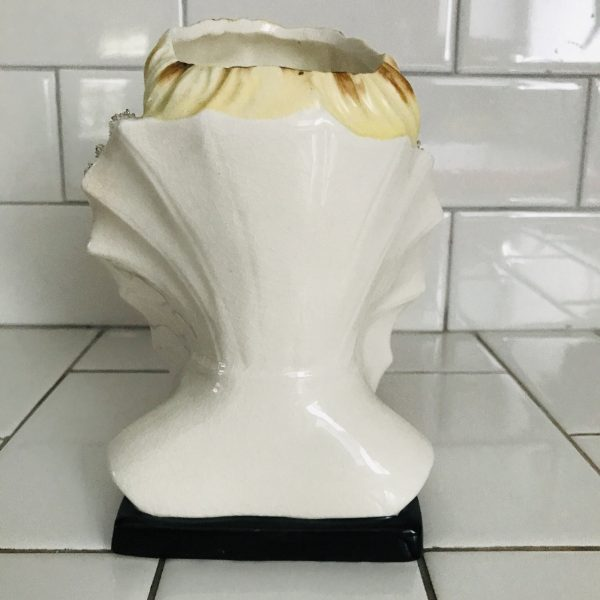 Vintage Beautiful Face Head vase head vase woman collectible display farmhouse cottage heavy gold trim great detail