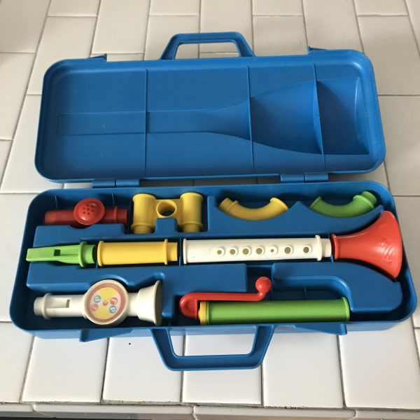 Vintage Fisher Price Crazy Horn Set Complete in case collectible toys display noise maker toddler