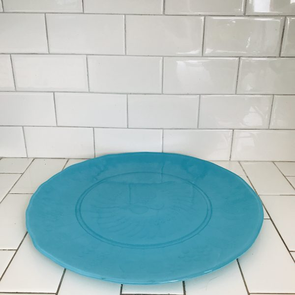 Beautiful Serving tray cake plate platter Aqua glass display collectible farmhouse cottage dining serving modern color kitchen