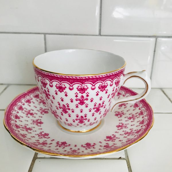 Crescent tea cup and saucer England Fine bone china Pink Fluer De Lis Chintz pattern farmhouse collectible display coffee serving RARE