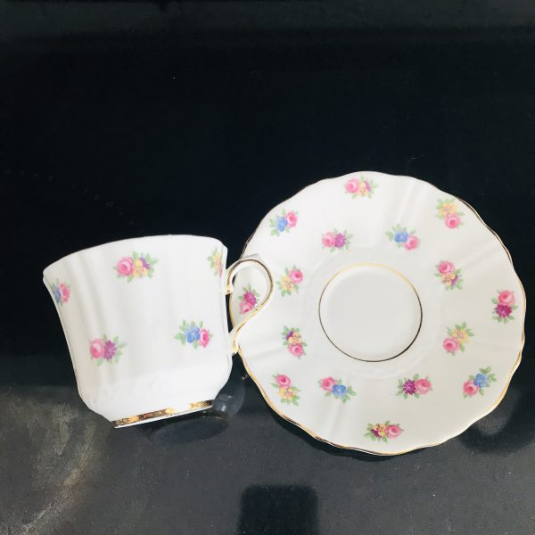 Old Royal Tea cup and saucer England Fine bone china cabbage rose chintz pattern pink blue yellow purple farmhouse collectible display