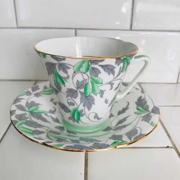 Royal Grafton Tea cup and saucer England Fine bone china Ashley Light green Chintz flowers gray leaves farmhouse collectible display coffee