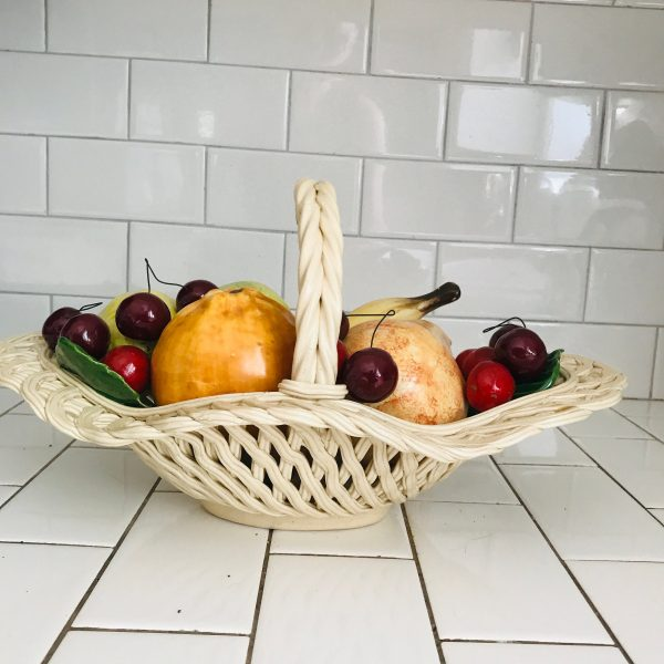 Vintage Bassano Italy Fruit in basket hand made collectible large oval basket life size fruit display kitchen decor dining decor farmhouse