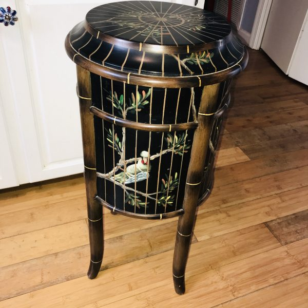 Darling accent table bird cage painted with drawer & door black with gold cage lines and colorful variety of birds ornate floral top