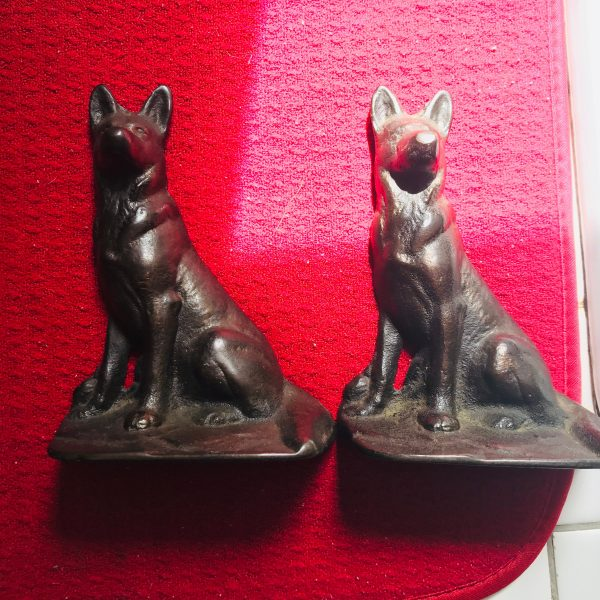 Vintage Bronze German Shepherd Bookends collectible dogs farmhouse cabin lodge display