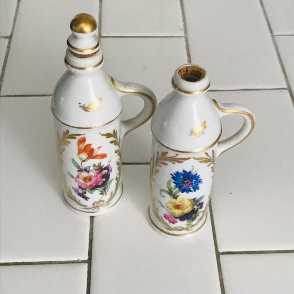 Antique 1850's French Perfume Bottles PAIR Georgian Era fine bone china collectible display floral heavy gold vanity bathroom farmhouse