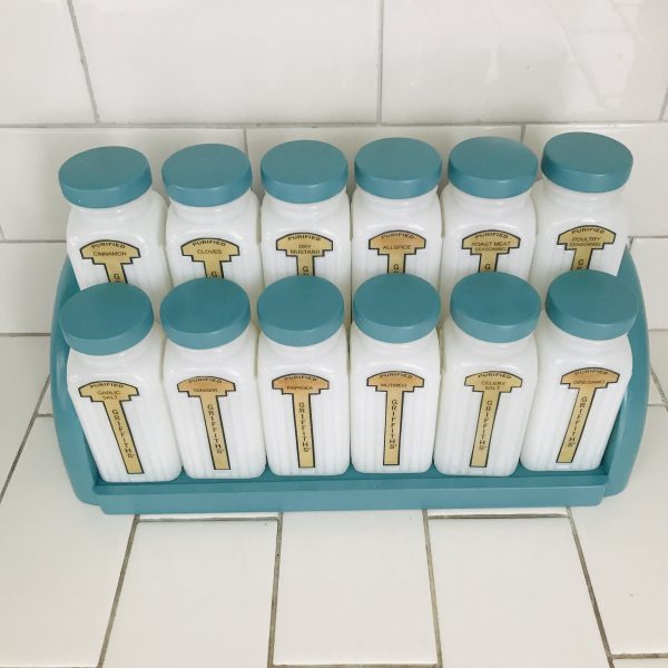 Vintage 1950's Milk Glass Spice Jars spices Rack 12 Large Griffith's vintage teal lids & rack farmhouse collectible display retro kitchen