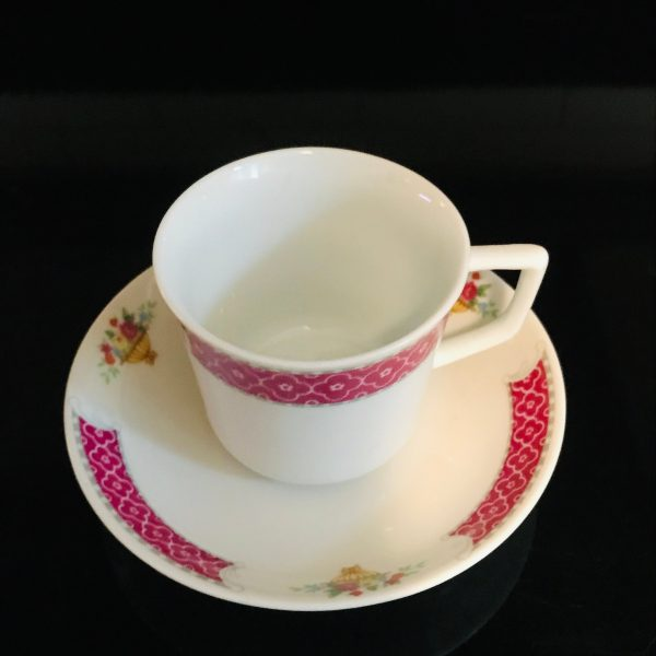 Vintage demitasse tea cup and saucer China Fine bone china Collectible display Pink with white flowers mini boquets